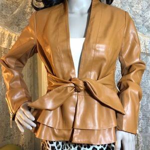 Exquisite Double Peplum Vegan Leather Jacket NWOT